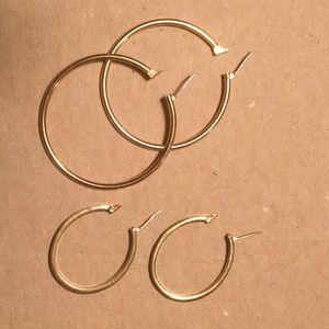 2 Pair MONET Gold Tone Hoops